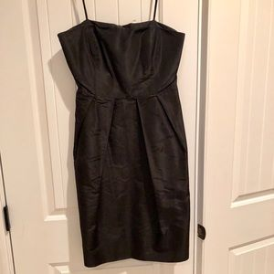 J Crew black taffeta strapless dress